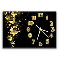 Креативные черные часы картина на стену в детскую комнату ReD Золотые бабочки 30х45 см