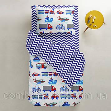 Комплект детского постельного белья Cosas 3 предмета TRANSPORT /зигзаг синий/