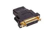 Переходник гн. HDMI - гн. DVI пластик