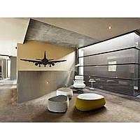 Дизайнерская наклейка стикер на стену, плитку, обои, мебель Red Aircraft 96х35 см Черная