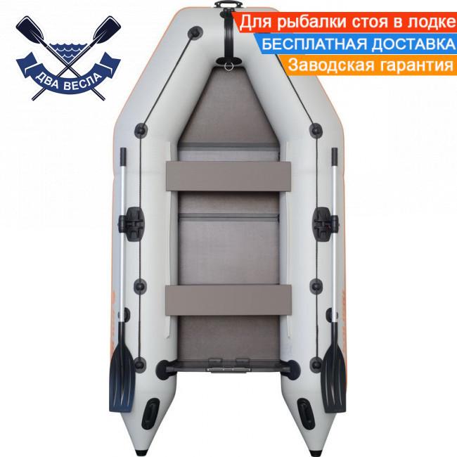 Моторная надувная лодка Kolibri КМ-260 двухместная с жестким дном - слань-книжкой