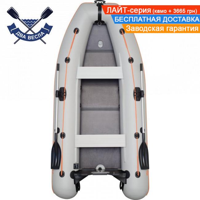 Килевая надувная лодка Kolibri КМ-330DL четырехместная с жестким дном - слань-книжкой, ПВХ 950