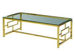 Стіл журнальний скляний CL-1 прозорий + метал хром золото