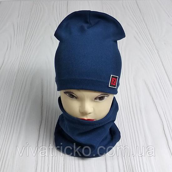 """М 4566. Комплект шапка + хомут для мальчиков """"F"""" 3-8 лет, разные цвета"""