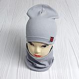 """М 4566. Комплект шапка + хомут для мальчиков """"F"""" 3-8 лет, разные цвета, фото 2"""