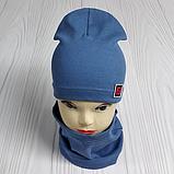 """М 4566. Комплект шапка + хомут для мальчиков """"F"""" 3-8 лет, разные цвета, фото 3"""