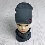 """М 4566. Комплект шапка + хомут для мальчиков """"F"""" 3-8 лет, разные цвета, фото 5"""