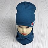 """М 4566. Комплект шапка + хомут для мальчиков """"F"""" 3-8 лет, разные цвета, фото 4"""