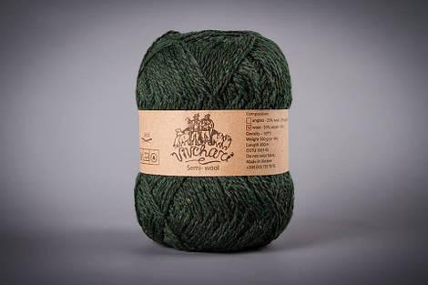 Полушерстяная пряжа для ручного вязания ТМ Vivchari 407 темно-зеленый