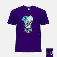 Детская цветная футболка Леон Акула Бравл Старс (Leon Shark Brawl Stars)