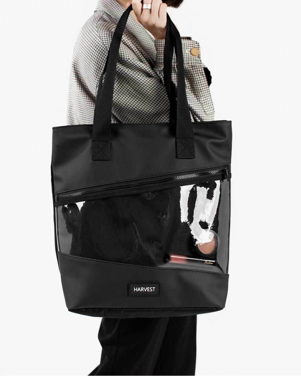 Сумка жіноча HARVEST шопер training bag medium глянцева чорна 32x38x14 см. екошкіра