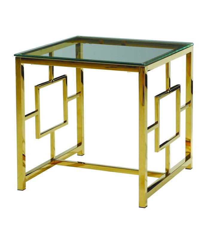 Стіл кавовий CL-2 скляний, прозорий метал хром, золото