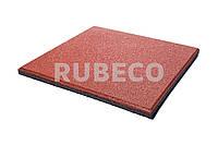 Резиновая плитка 500х500х30 мм  TM Rubeco. Резиновые плиты красные 50х50х3 см