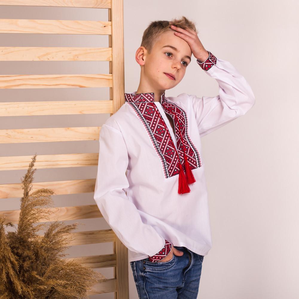 Вишиванка Moderika Матвійко біла з червоною вишивкою