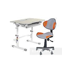 Комплект растущая парта Lavoro L Grey+ детский стул для школьника LST3 Orange-Grey FunDesk