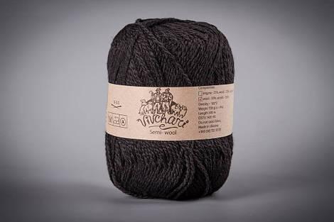 Зимняя пряжа для ручного вязания полушерсть ТМ Vivchari 412 черный