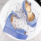 Женские босоножки голубого цвета на танкетке, эко замша 39 ПОСЛЕДНИЙ РАЗМЕР, фото 3