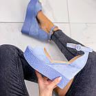 Женские босоножки голубого цвета на танкетке, эко замша 39 ПОСЛЕДНИЙ РАЗМЕР, фото 4