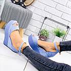 Женские босоножки голубого цвета на танкетке, эко замша 39 ПОСЛЕДНИЙ РАЗМЕР, фото 8