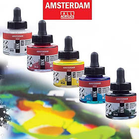 Туш акрилова AMSTERDAM INK (227) Охра жовта, 30мл, Royal Talens