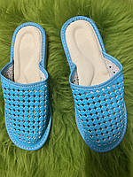 Домашние кожаные женские тапочки сетка