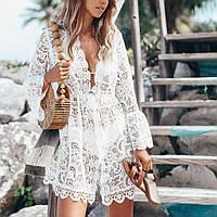 Пляжное платье-туника белое