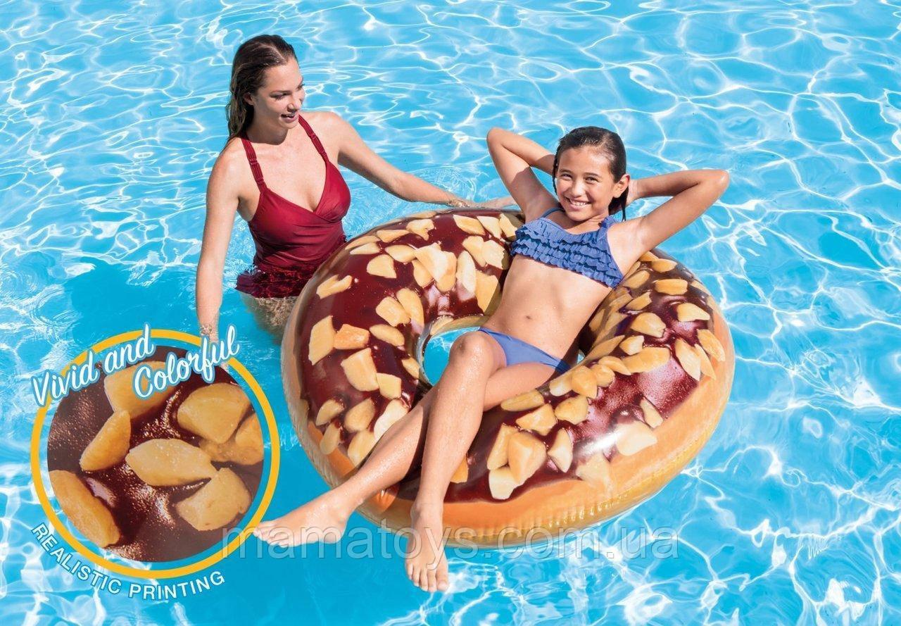 Круг надувной INTEX 56262 Пончик Ореховый шоколад  интекс 114 см от 14 лет