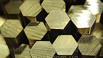 Латунный шестигранник № 14,17, 19, 22, 24, 27, 30, 32, 36, 41 мм ГОСТ ЛС59-1, Л63 п/тв