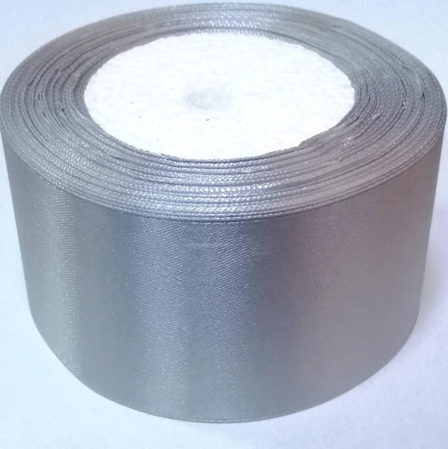 Лента атласная 5 см серая серебро