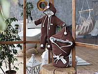 """Деми набор """"Гномик"""", цвет коричневый каштан: конверт + комбинезон, фото 1"""