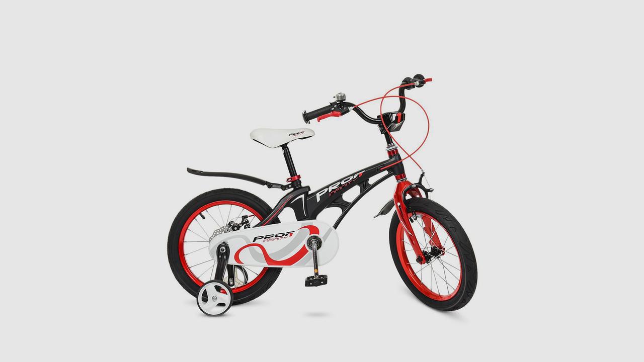 Велосипед дитячий PROFI 18д. LMG18201. Бічні колеса. Дзвінок. Чорно - червоний