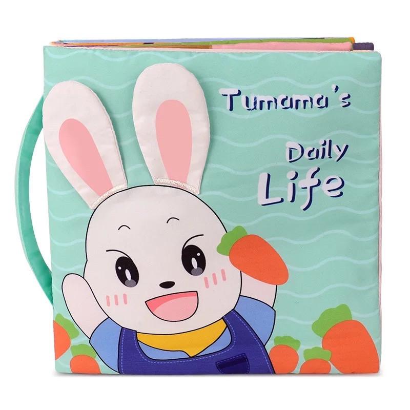Развивающая мягкая книга Tumama с перемещаемыми элементами. Мой день.