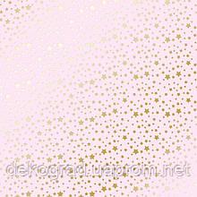 Лист односторонней бумаги с фольгированием Golden stars Light pink 30,5х30,5 см