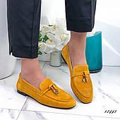 Женские туфли из натуральной замши горчичные, 36 размер