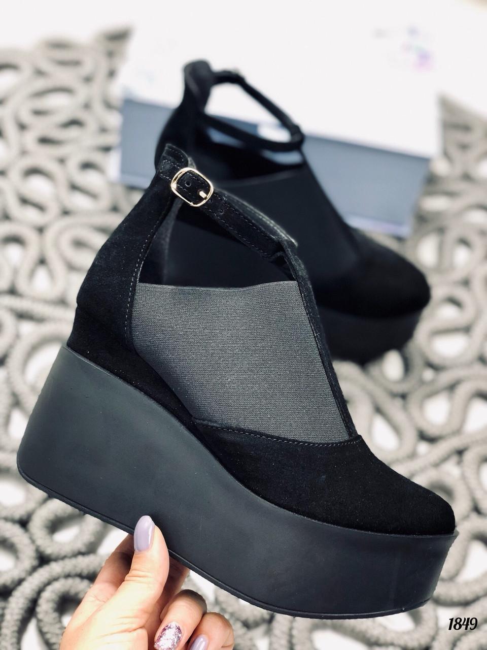 41 р. Туфли женские черные замшевые, из натуральной замши, натуральная замша