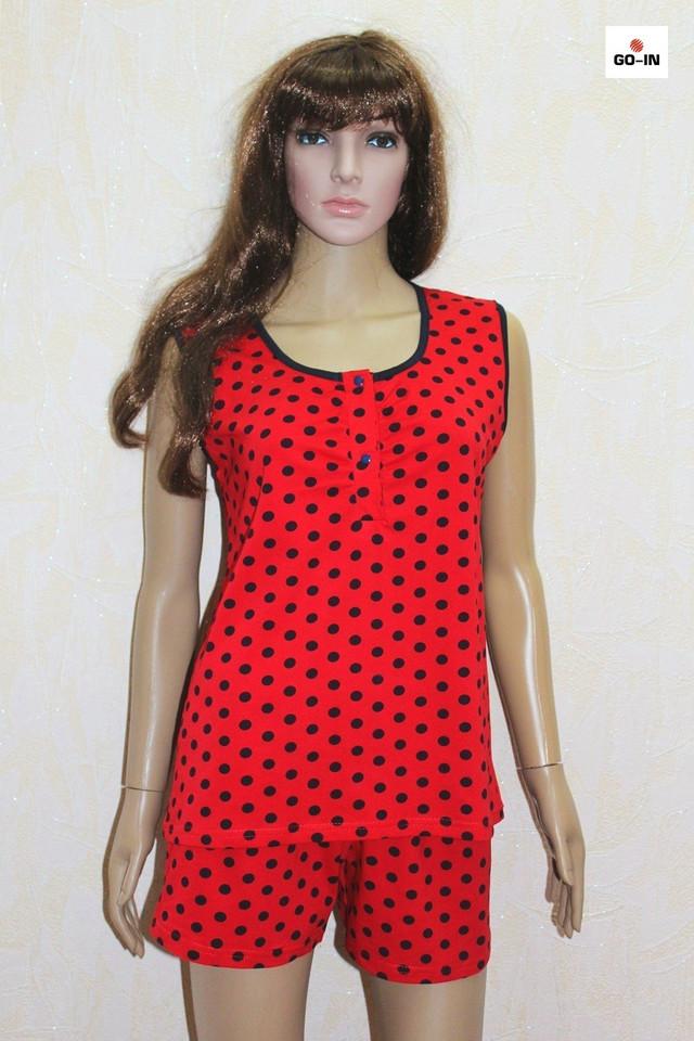 Пижама женская красная в горошек майка с шортами летняя 44-54р.