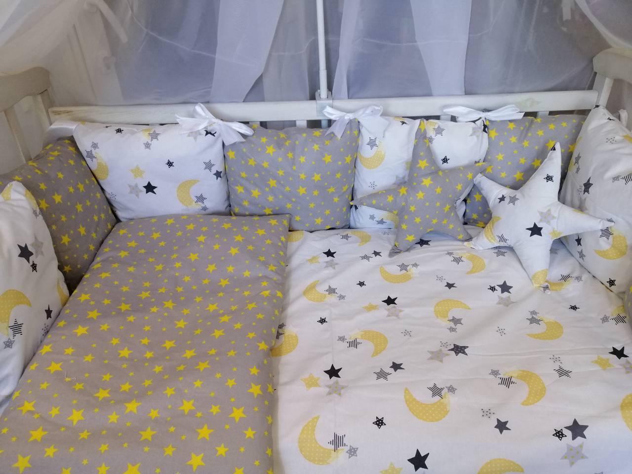 Детский постельный комплект в кроватку со съемными наволочками