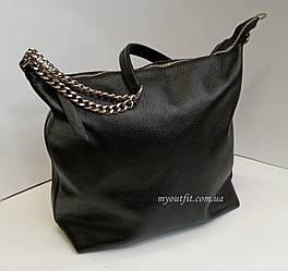 Женская кожаная объемная сумка