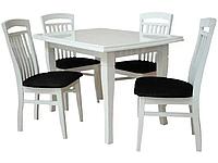 Комплект кухонный стол Виривиль деревянный (1600)+стулья Дранси 4 шт белый