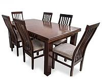Комплект кухонный стол Вореп нераскладной+стулья Арбон (6 шт) темный орех