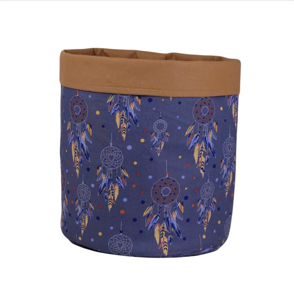 Мешок (корзина) для хранения, Ø35 * 45 см, (хлопок), с отворотом (ловец снов синий / карамель)