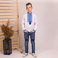 Вышиванка для мальчика с синей вышивкой Матвей