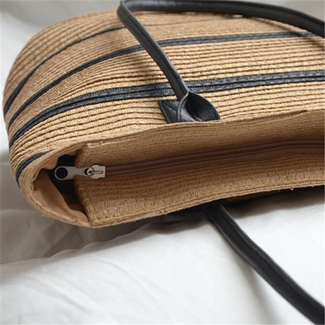 Женская сумка плетенная пляжная вместительная в полоску с ручкой с искусственной кожи
