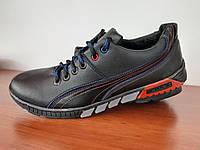 Чоловічі туфлі спортивні чорні прошиті зручні (код 5588), фото 1