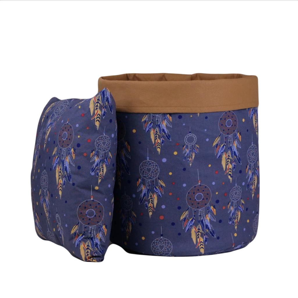 Мішок для зберігання, Ø45*40 см, (бавовна), з відворотом (ловець снів синій/карамель)