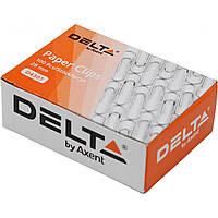 Скрепки 28мм Delta by Axent 100 шт. с загибом никелированные 4301