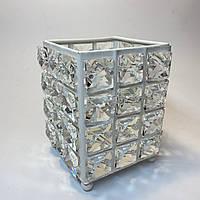 Стакан подставка квадратный в камни для пилочек, кистей, дотсов, карандашей