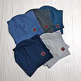 """М 4566. Комплект шапка + хомут для мальчиков """"F"""" 3-8 лет, разные цвета, фото 6"""