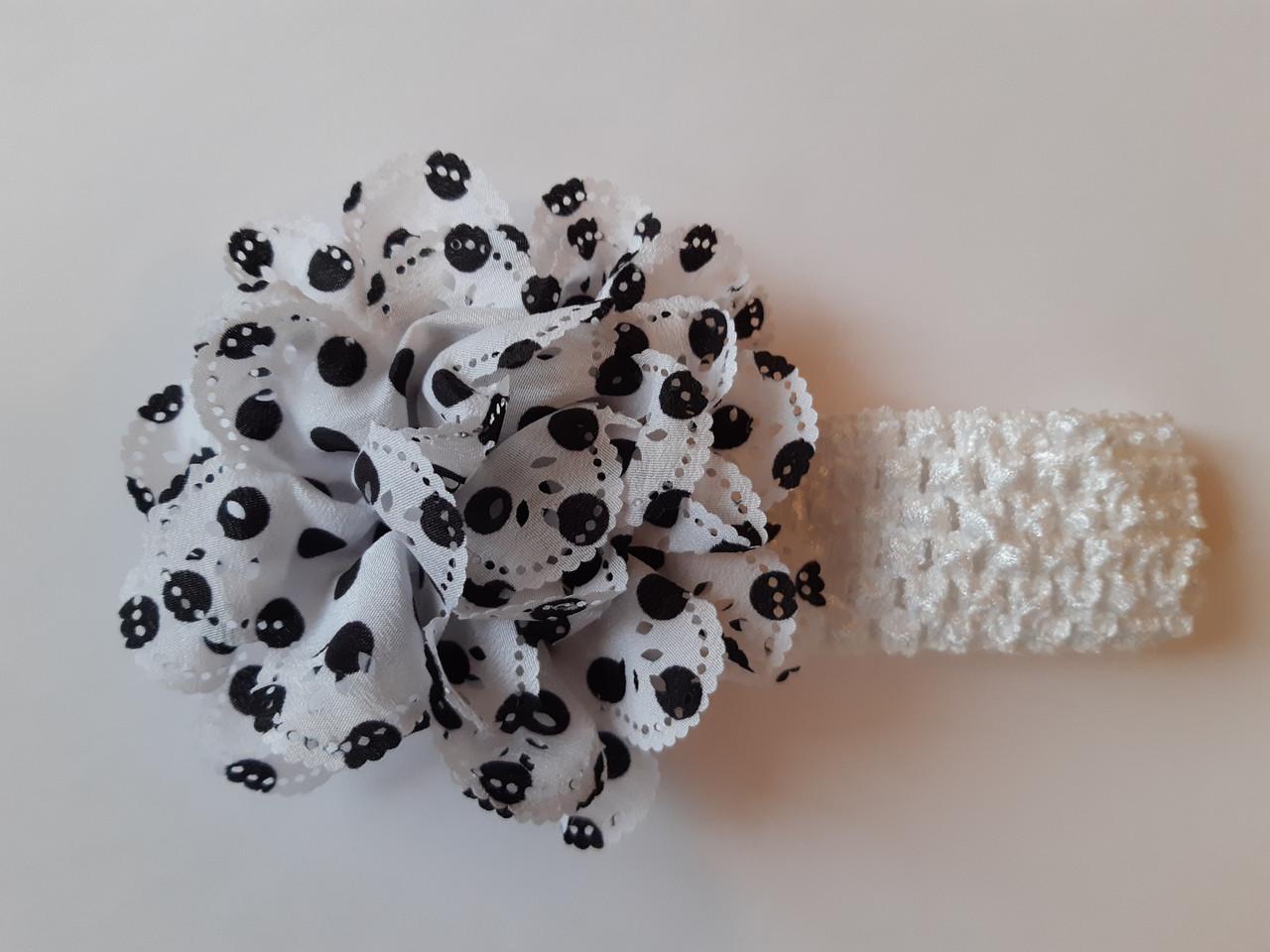 Повязка детская в горошек белая - окружность 26-44см, цветок 10см