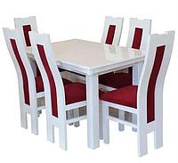 Кухонный комплект стол Вузон раскладной+стулья Енвелен (6 шт) белый